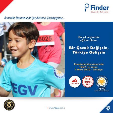 Runatolia Maratonunda Finder çocuklar için koştu.